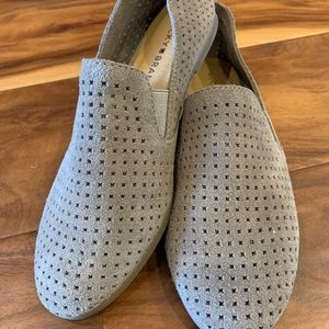 Lucky Brand Taupe Carthy Perforated Suede Loafers